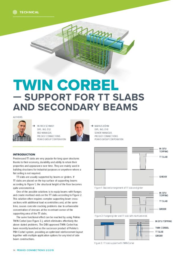 TWIN CORBEL — Support for TT Slabs and Secondary Beams