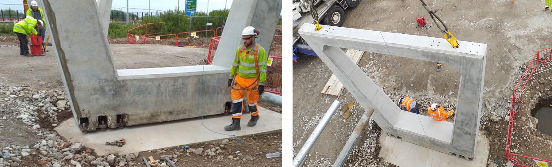 Bridge concrete elements fastened with Peikko's PEC<sup>®</sup> Column Shoes