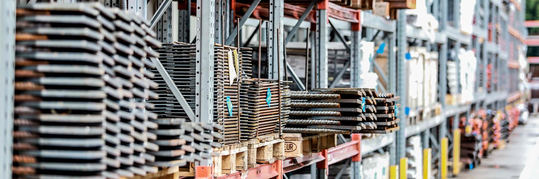 Peikko's steel products on the shelf