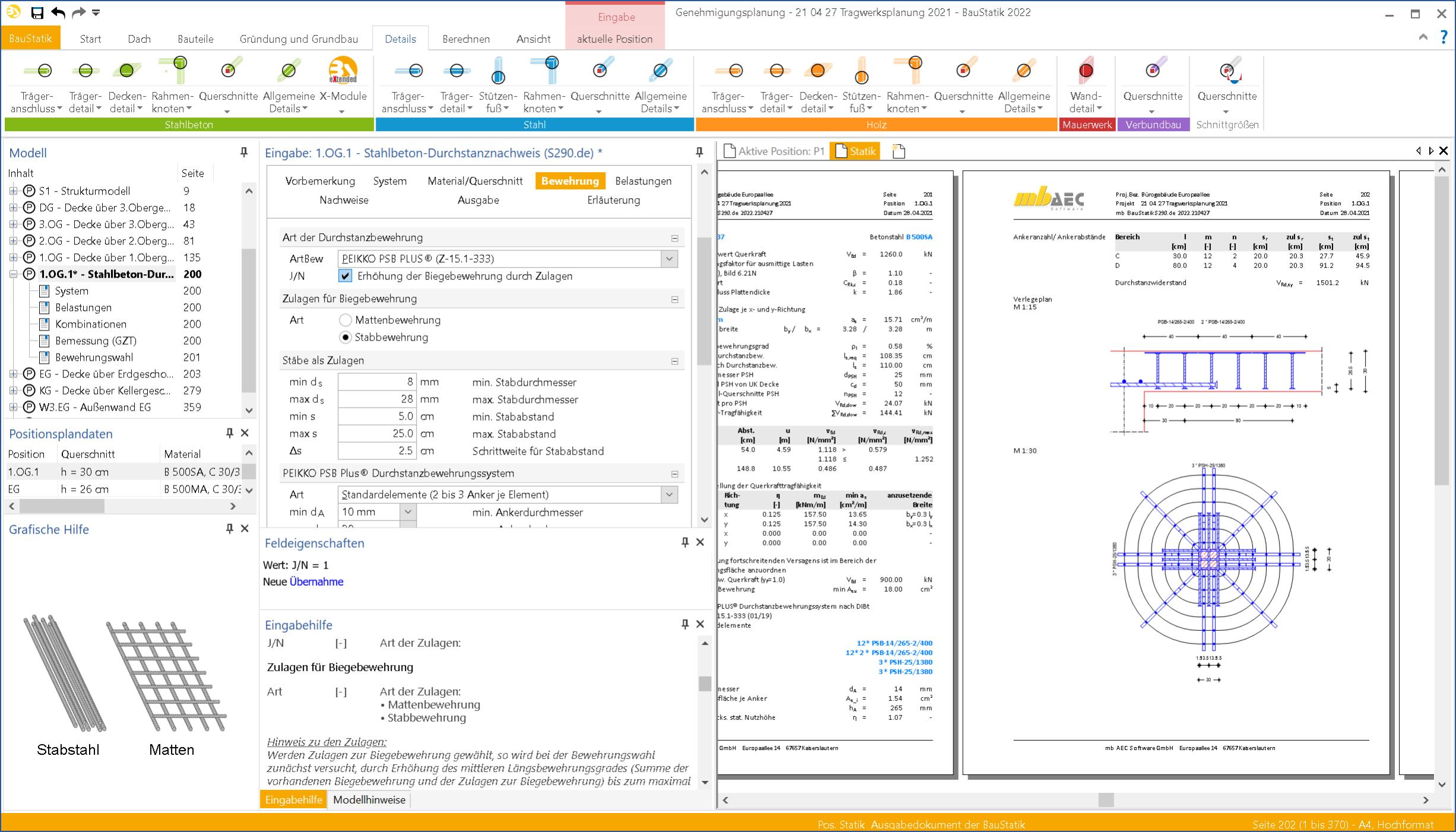 MB Worksuite S290.de Baustatik Modul Durchstanzbewehrung