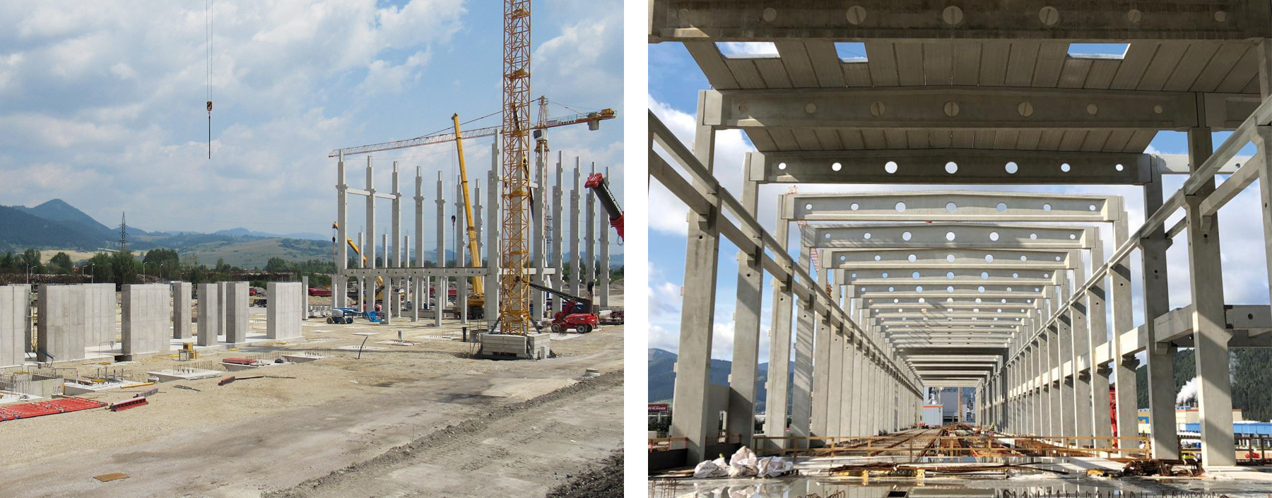 Two-storey prefabricated frame with continuous columns.